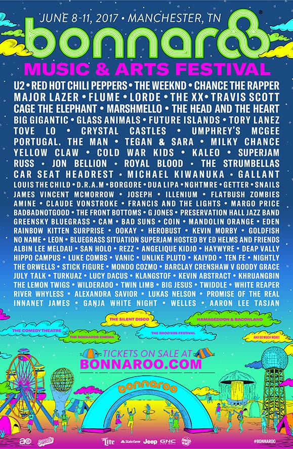 Bonnaroo Music Festival 2017 lineup. Photo by: Bonnaroo