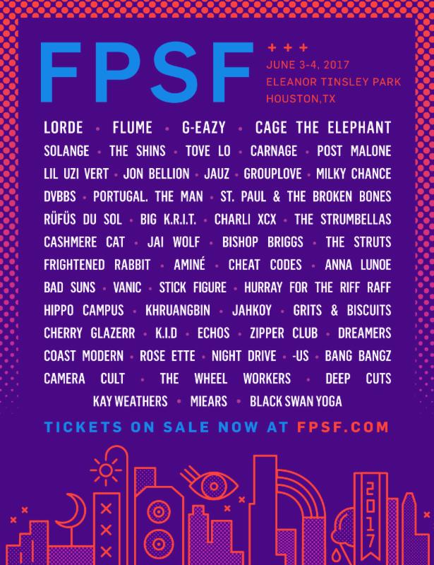 FPSF Houston 2017 lineup. Photo provided.