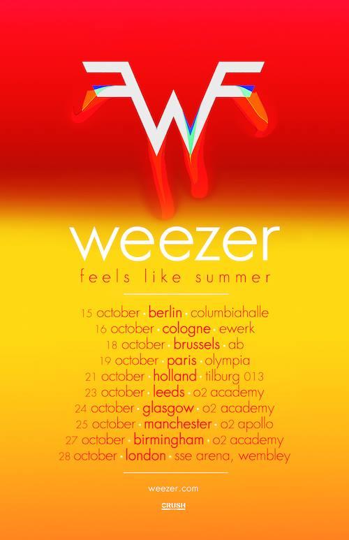 Weezer European 2017 tour dates. Photo by: Weezer / Twitter