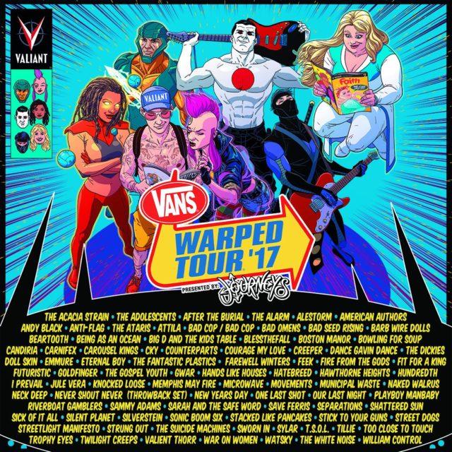 Vans Warped Tour 2017 lineup. Photo by: Vans Warped Tour / Twitter