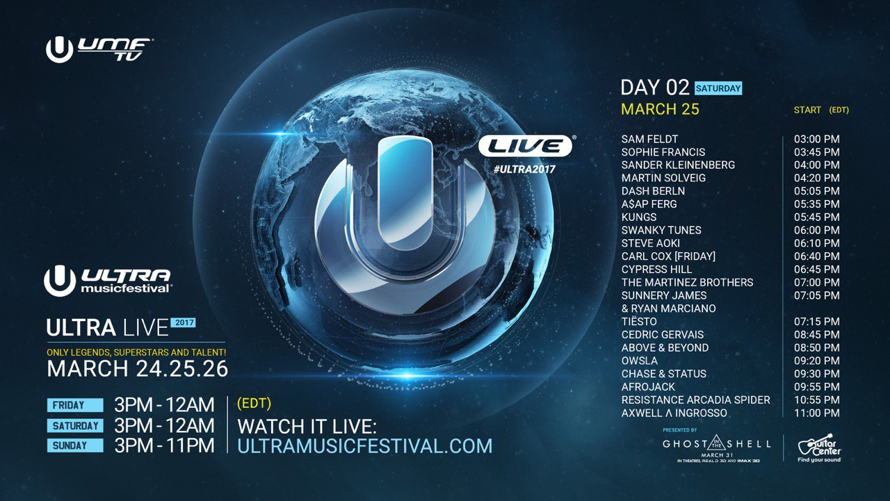 Ultra Music Festival 2017 day 2 schedule. Photo by: Ultra Music Festival / Twitter