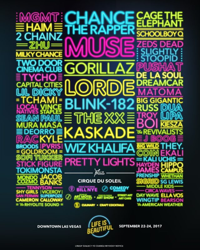 Life is Beautiful 2017 lineup. Photo by: Life is Beautiful / Twitter