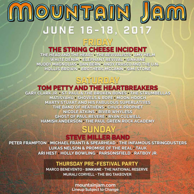 Mountain Jam music festival daily lineup. Photo provided.