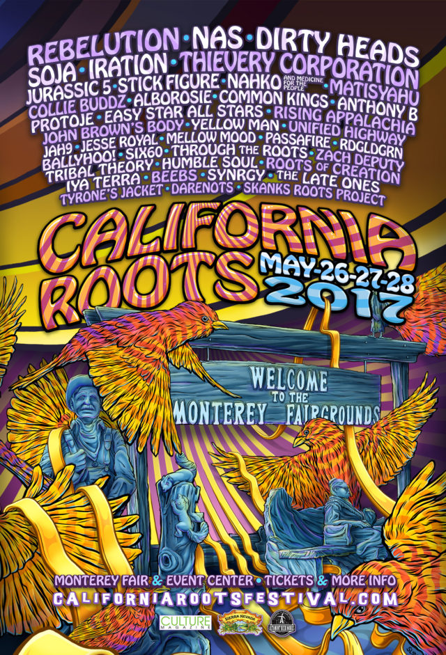 California Roots Music & Arts Festival lineup poster. Photo by: California Roots Music & Arts Festival