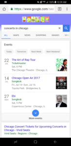 Live music events on Google search. Photo by: Matthew McGuire