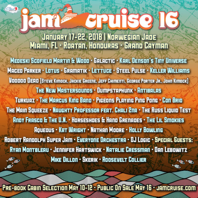 Jam Cruise 16 lineup. Photo by: Jam Cruise / Cloud 9 Adventures