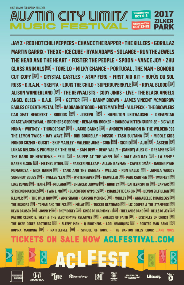 ACL Festival 2017 lineup. Photo provided by: ACL Fest
