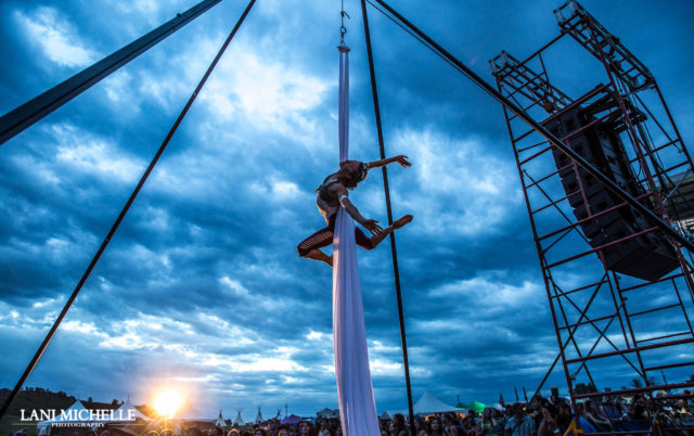 Aerial performer at ARISE Music Festival. Photo by: Lani Michelle Photography. Photo provided by: ARISE Music Festival