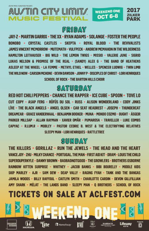 ACL Festival daily lineup for Weekend One. Photo by: ACL Festival