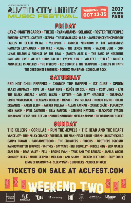 ACL Festival daily lineup for Weekend Two. Photo by: ACL Festival
