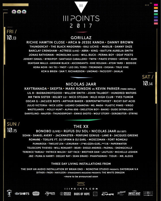 III Points daily lineup. Photo provided.