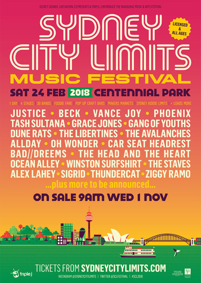 Sydney City Limits Music Festival 2018 lineup. Photo provided.