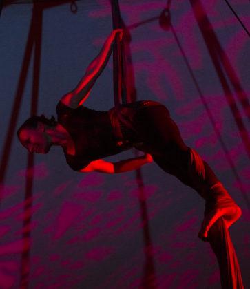 Trapeze artist at NitroFest. Photo by: Matthew McGuire