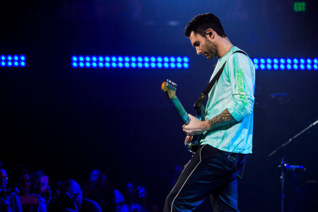 Maroon 5 performing at an album release party in Los Angeles. Photo by: Wes and Alex for iHeartRadio.