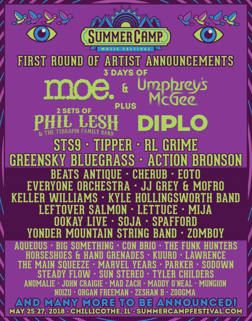 Summer Camp Music Festival 2018 initial lineup. Photo by: Summer Camp Music Festival