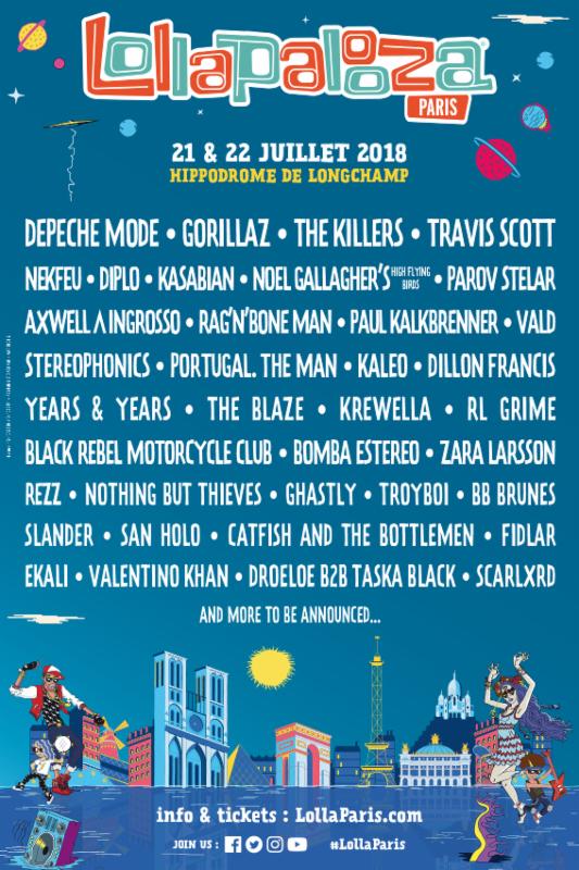 Lollapalooza Paris 2018 lineup. Photo provided.
