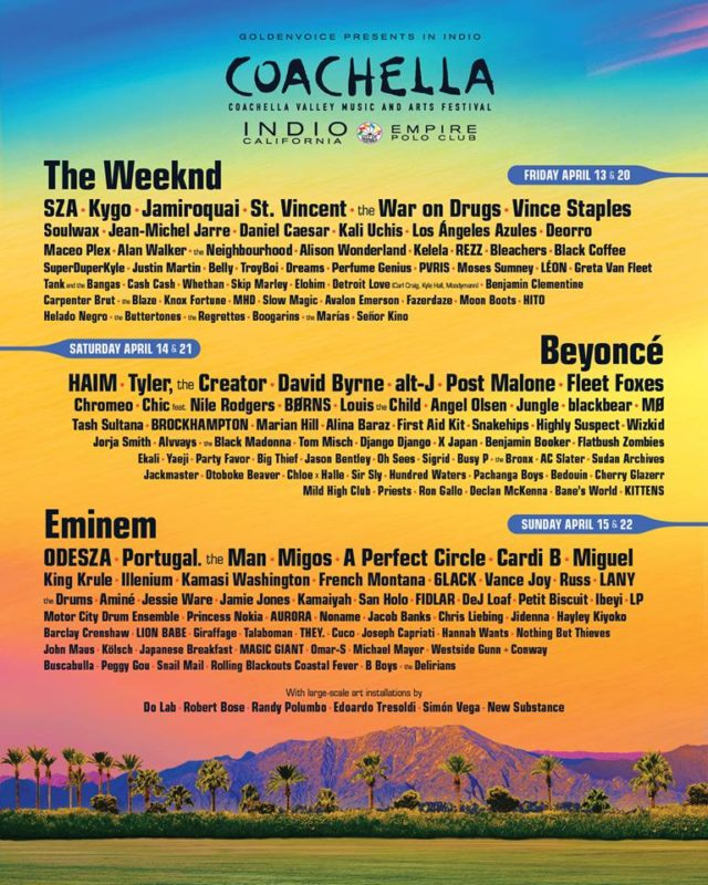 Coachella 2018 lineup. Photo by: Coachella