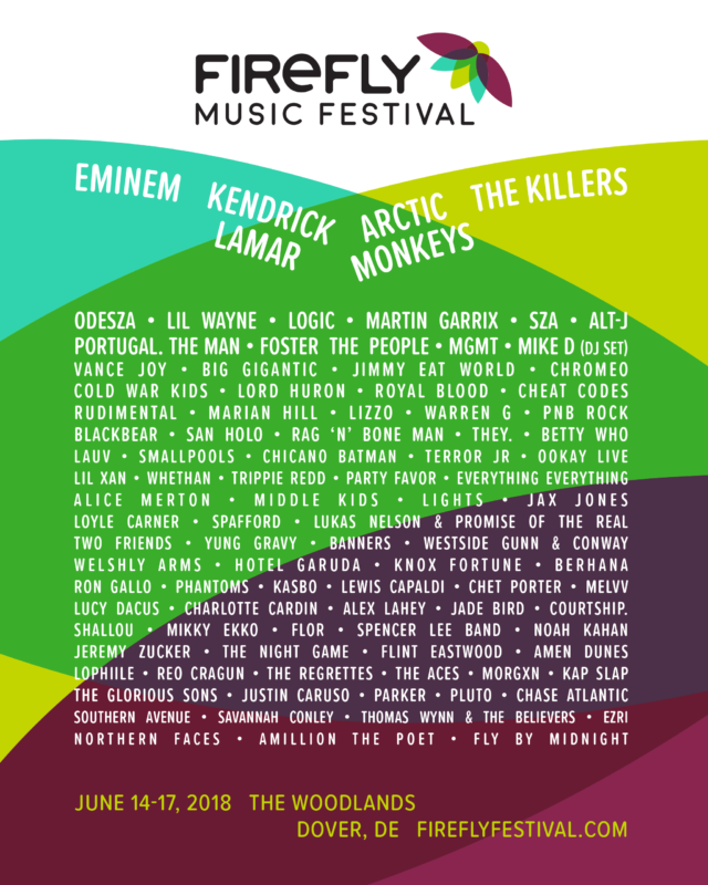 Firefly Music Festival lineup for 2018. Photo by: Firefly Music Festival