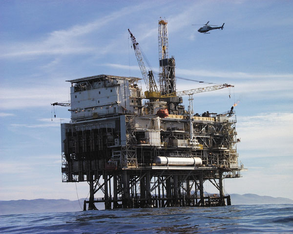 Oil platform used for offshore drilling. Photo by: NASA / Wikimedia Commons