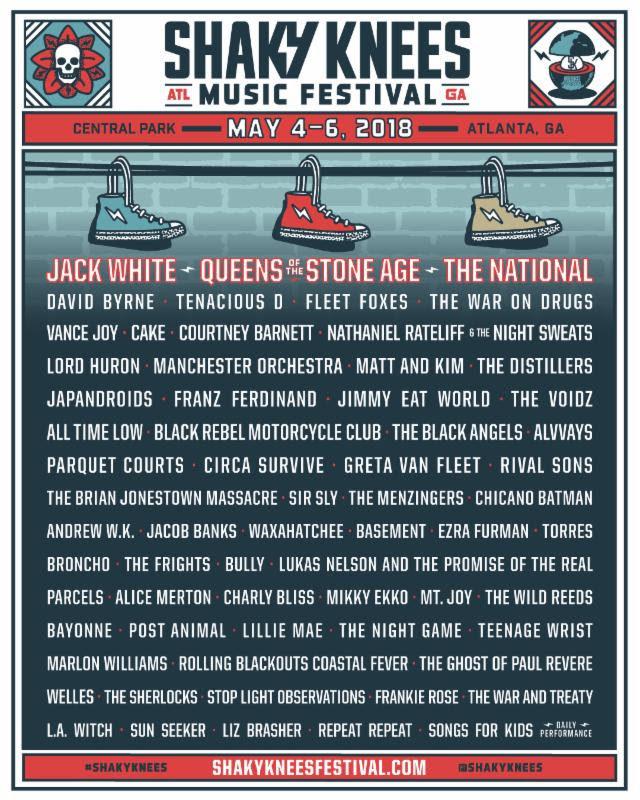 Shaky Knees Music Festival lineup. Photo provided.
