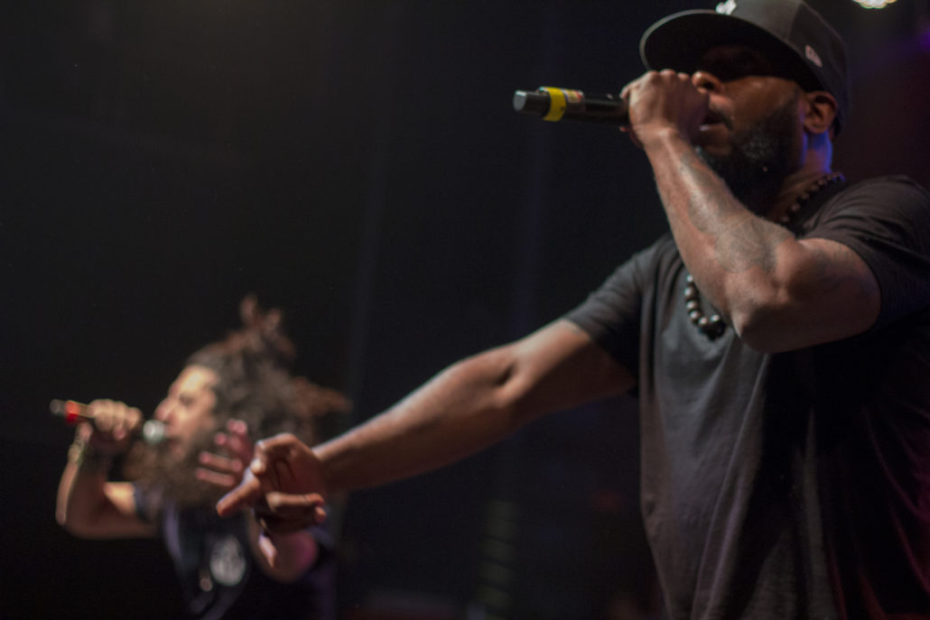 Talib Kweli and Niko IS performing at the Fox Theater in Boulder, Colorado. Photo by: Matthew McGuire