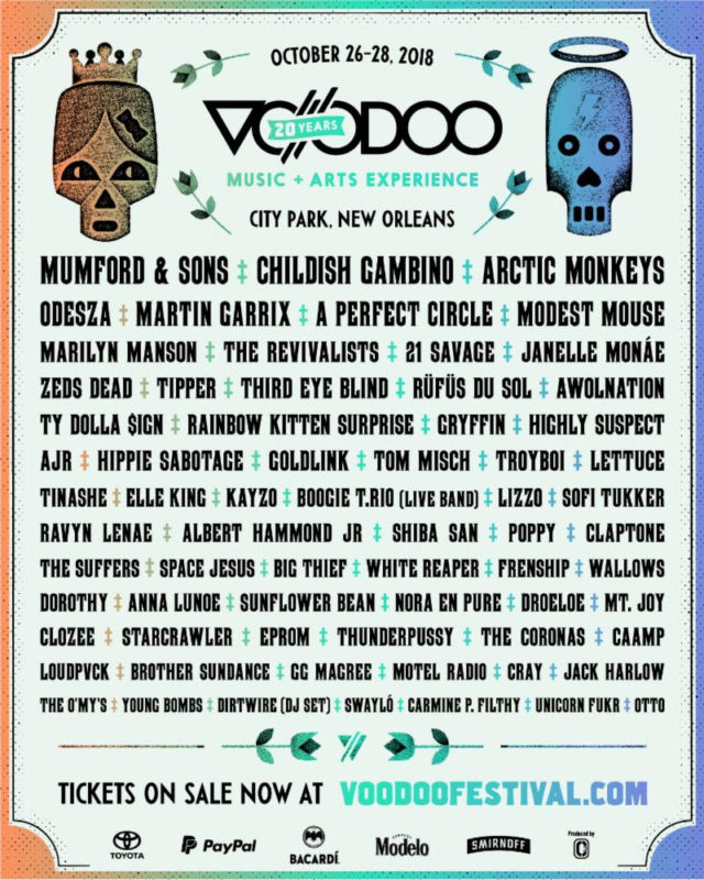 Voodoo Music Festival + Arts Experience 2018 lineup. Photo provided.