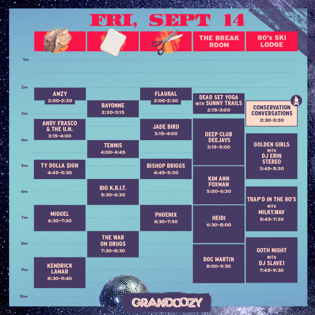 Grandoozy 2018 - Friday Schedule. Photo provided.