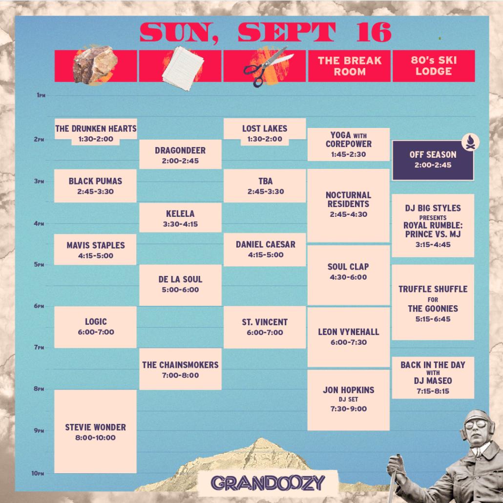 Grandoozy 2018 - Sunday Schedule. Photo provided.