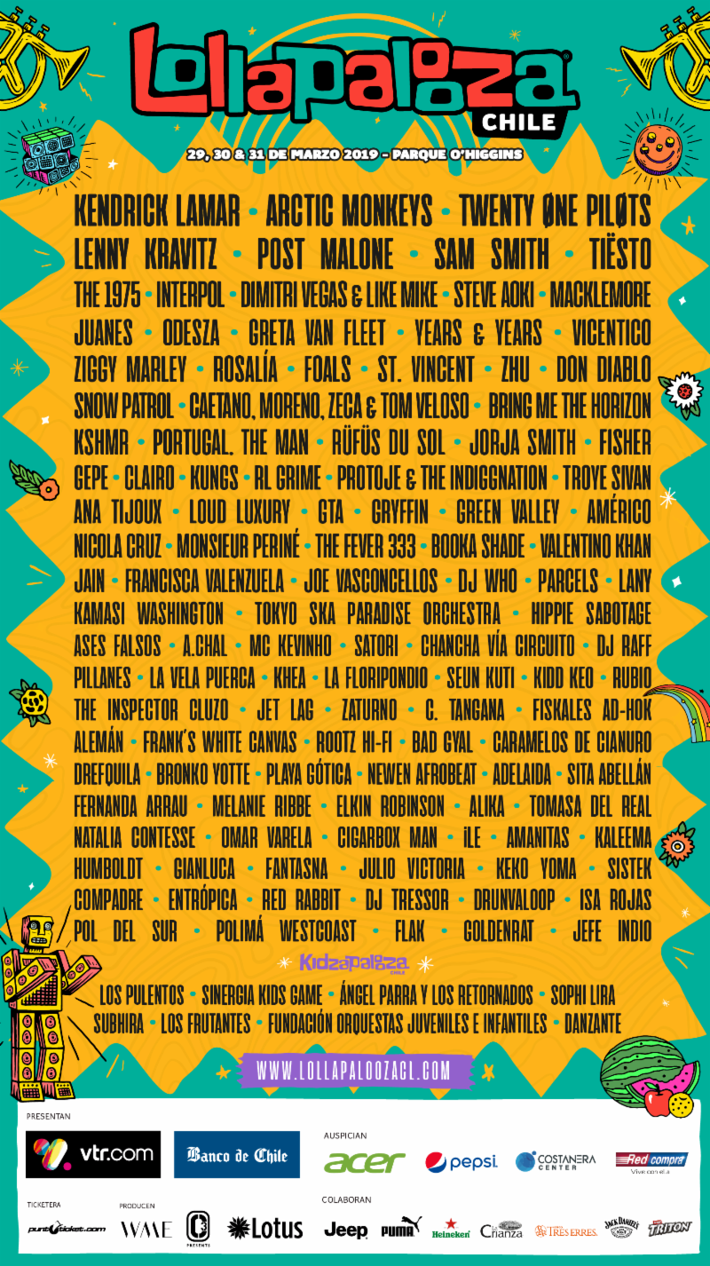 Lollapalooza Chile 2019 lineup. Photo provided.