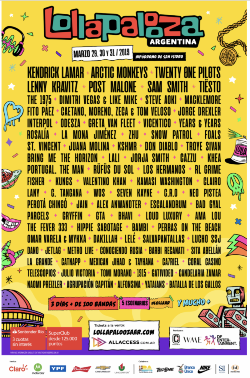 Lollapalooza Argentina 2019 lineup. Photo provided.