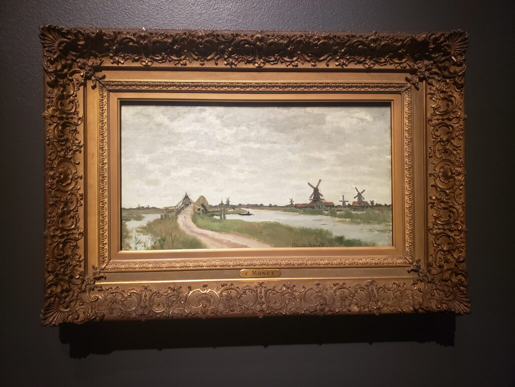 Windmills near Zaandam. Painting by Claude Monet in 1871. Photo by: Matthew McGuire