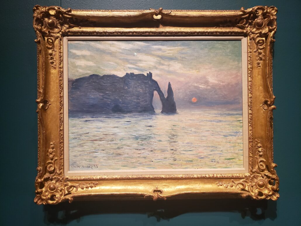 The Cliff, Étretat, Sunset. Painting by Claude Monet in 1882-1883. Photo by: Matthew McGuire