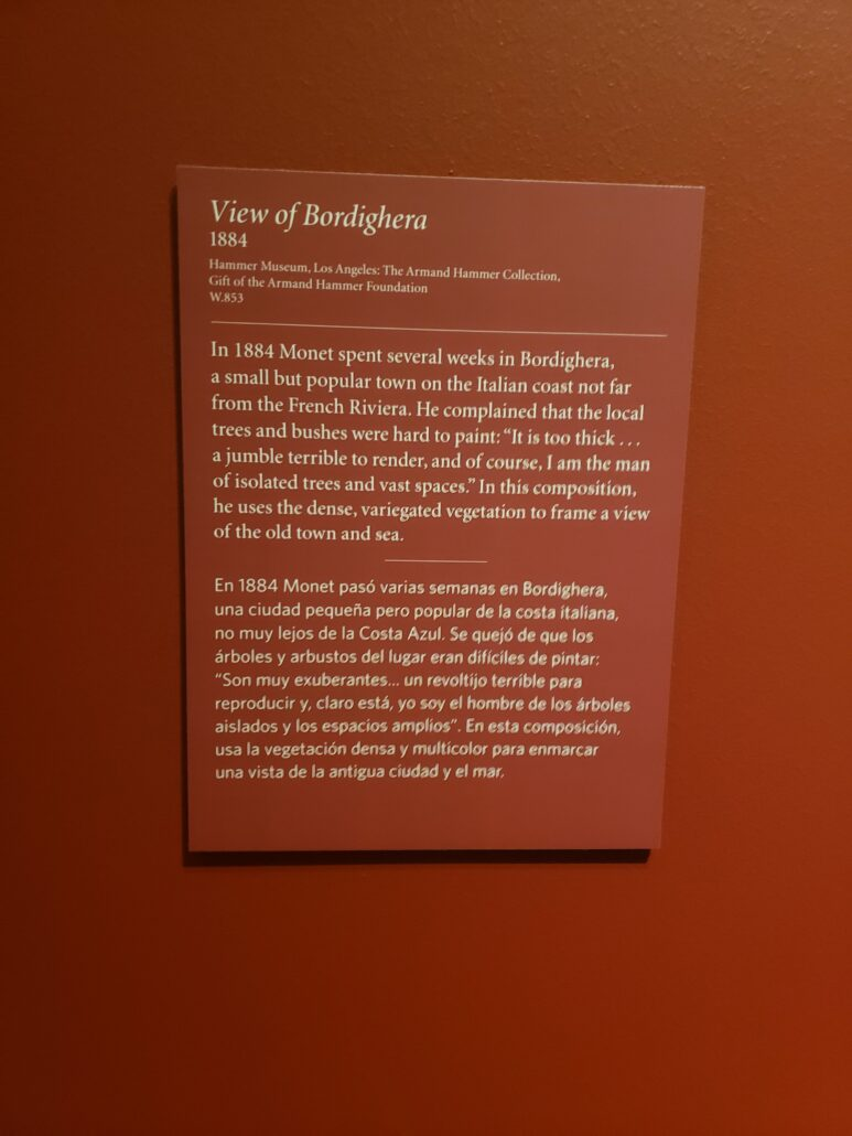 View of Bordighera description at the Denver Art Museum. Photo by: Matthew McGuire