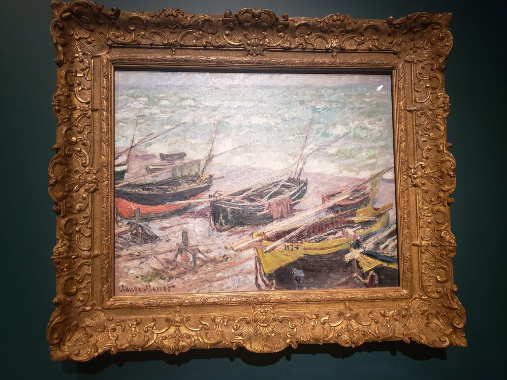 Fishing Boats at Étretat. Painting by Claude Monet in 1885. Photo by: Matthew McGuire
