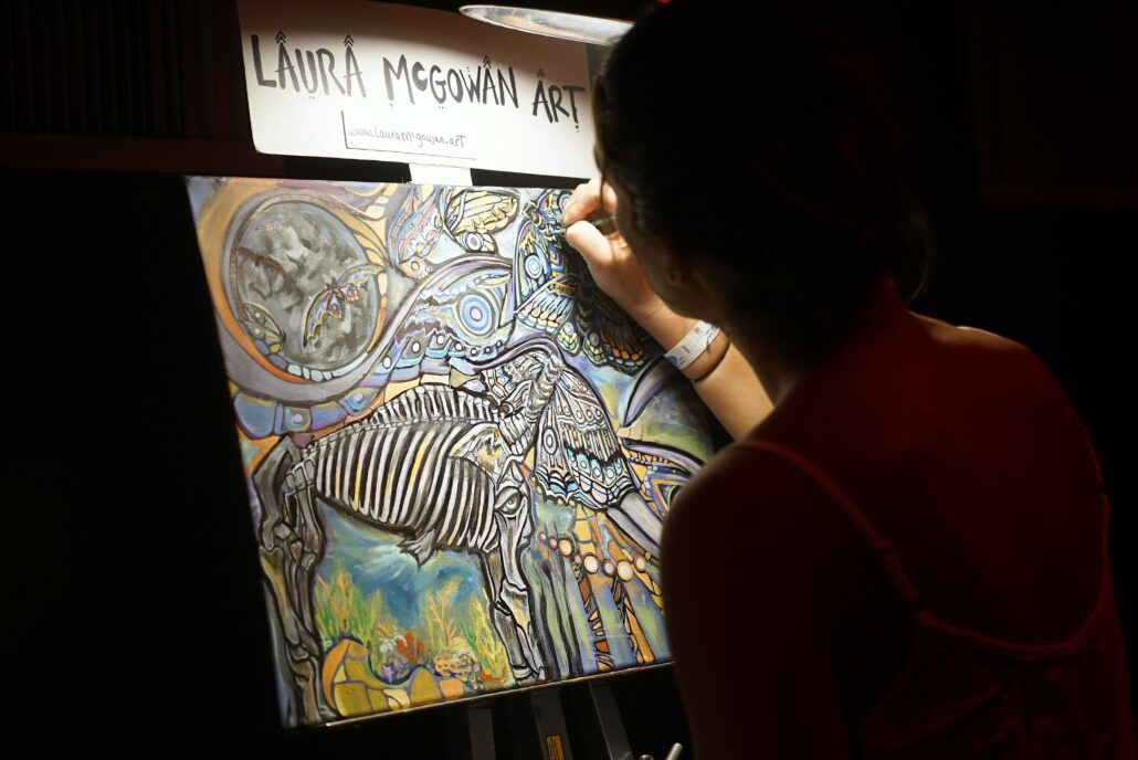 Art Laura McGowan painting during the Pre-Party at Cervantes' Ballroom in Denver on 01/17/20. Photo by: Samantha Harvey