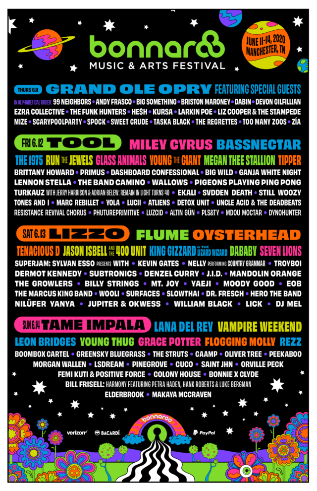 Bonnaroo 2020 lineup. Photo by: Bonnaroo / Twitter
