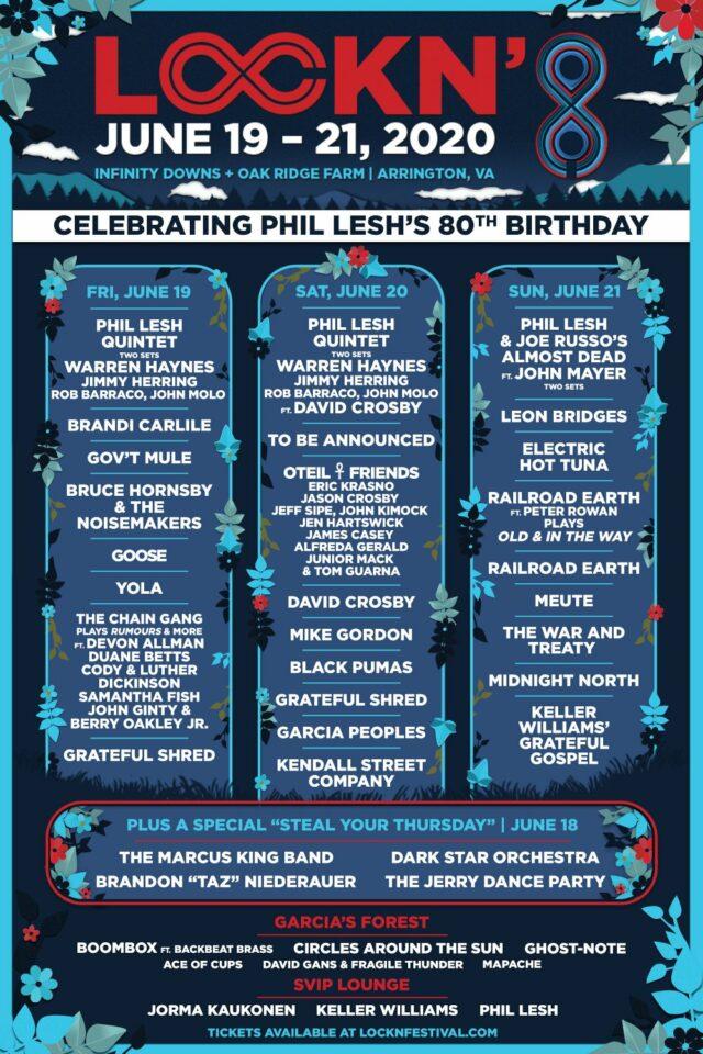 LOCKN Music Festival 2020 lineup. Photo by: LOCKN Music Festival