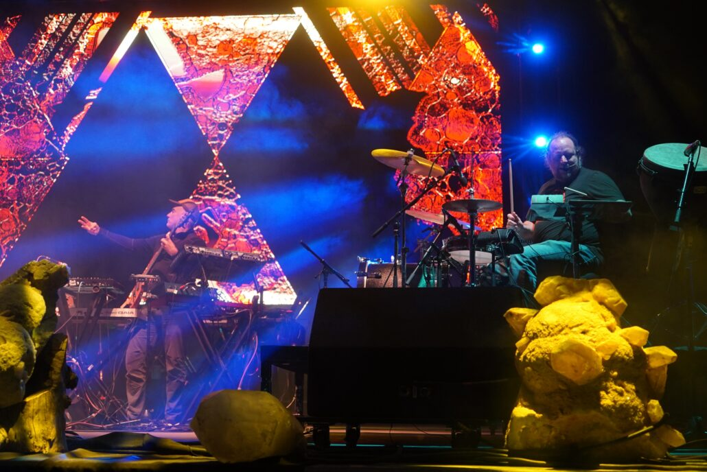 Micheal Travis and Jason Hann of The String Cheese Incident performing with TH3 at the 2020 Gem and Jam Festival in Tucson, Arizona. Photo by: Samantha Harvey