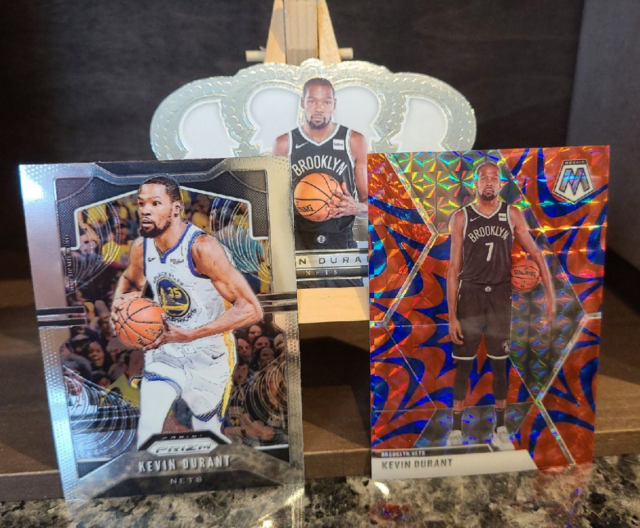 A set of basketball cards featuring Kevin Durant. Photo by: Matthew McGuire