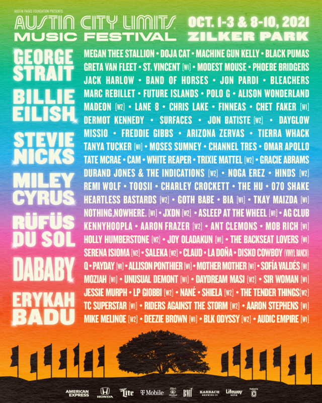 Austin City Limits Music Festival lineup. Image provided.