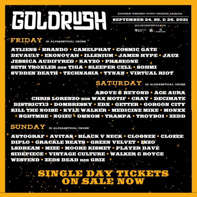 Goldrush 2021 daily lineup. Photo provided.