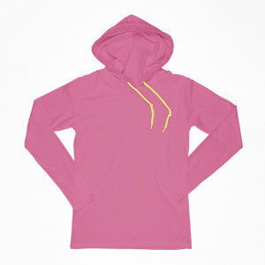 Lightweight T-Shirt Hoodie with Neon Green Strings