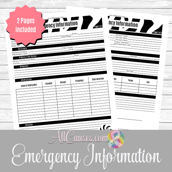 emergency information printable
