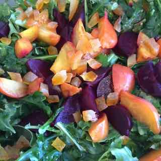 Beet, Persimmon, Arugula Salad in Blood Orange Dressing