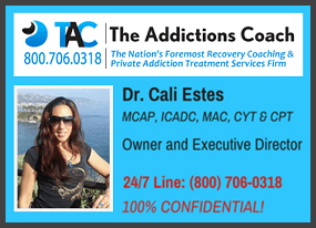 Dr. Cali Estes for Licensed, Certified Sober Recovery Coaches and Concierge Private Drug Rehab Services Nationwide.
