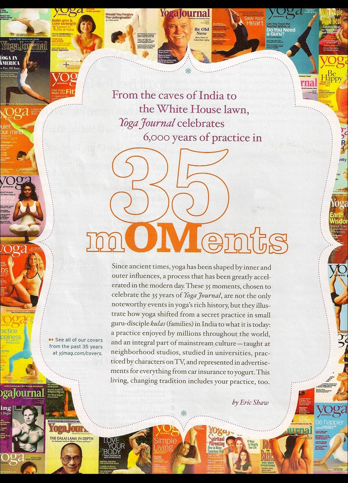 35 Moments: A Timeline of Yoga History, YOGA JOURNAL  SEPTEMBER 2010