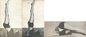 Devi shows Plow and Shoulderstand variations in her 1953 book, Forever Young, Forever Healthy