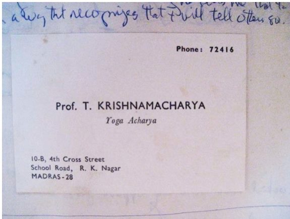 Krishnamacharya's Business Card and the Place of Marketing in Yoga, BLOG MAY 2014