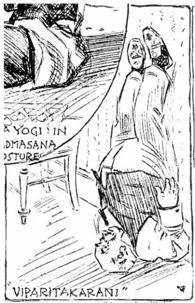 "Figure 1. An unidentified man in ""Viparitakarani"" from The New York Herald, March, 1898"