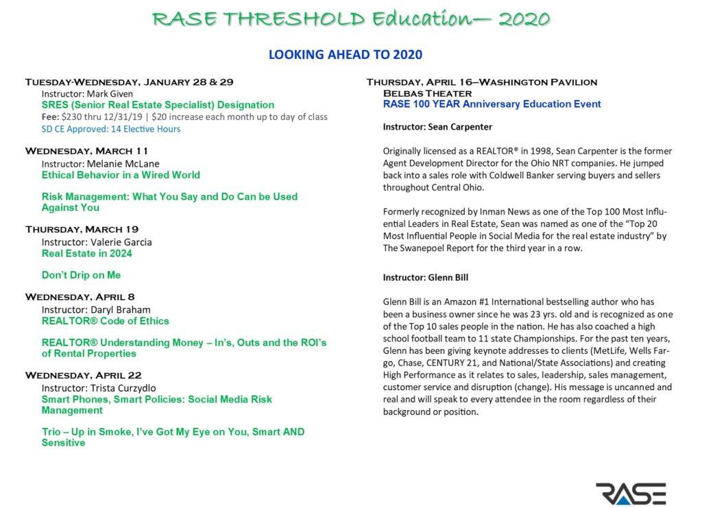RASE Spring 2020 Education